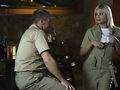 Naughty hot ass chick Riley Steele in military uniform gets fucked